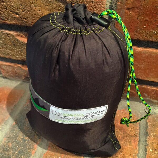 A handmade Hammock inside its bag.