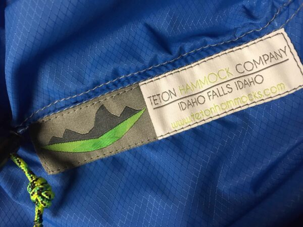 blue hammock fabric with Teton hammock Company tag