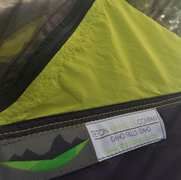 Close up of the custom hammock camping gear tag.