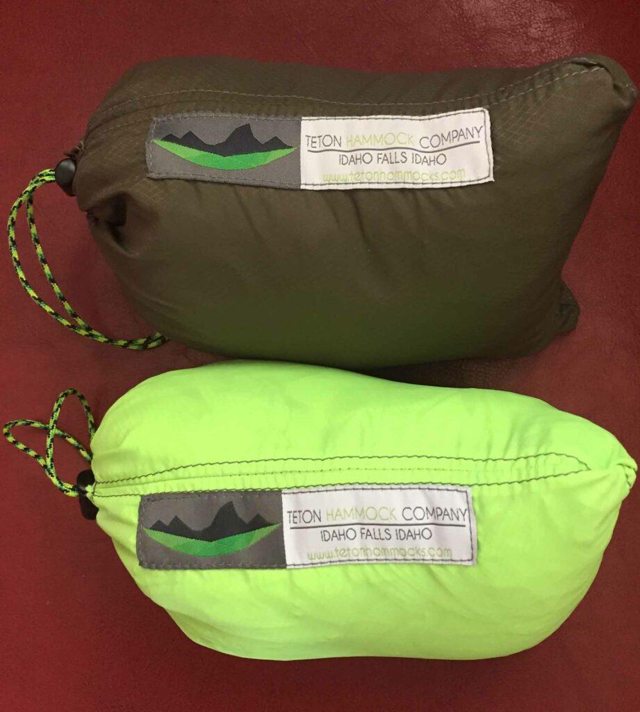 2 hammocks inside their bags with the Teton Hammock Company Logo