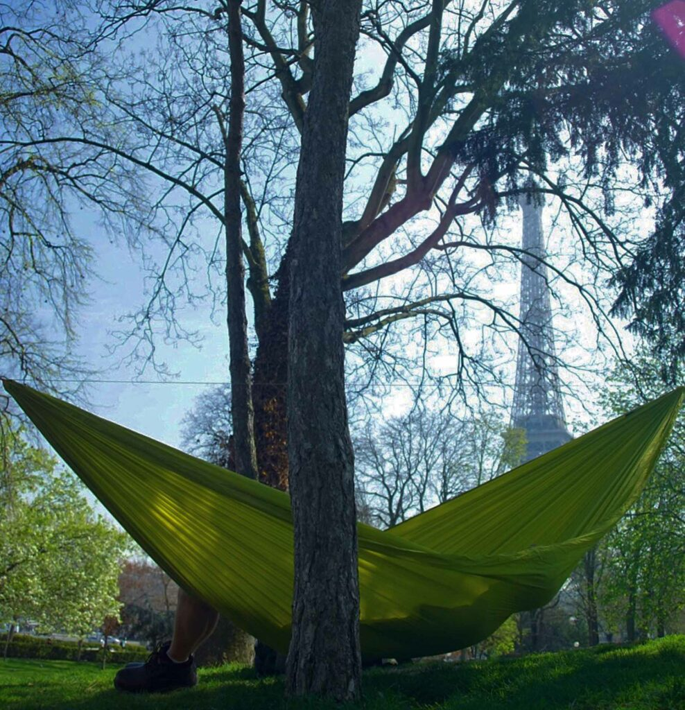 a Yellow hammock in Paris near the Eiffel Tower.