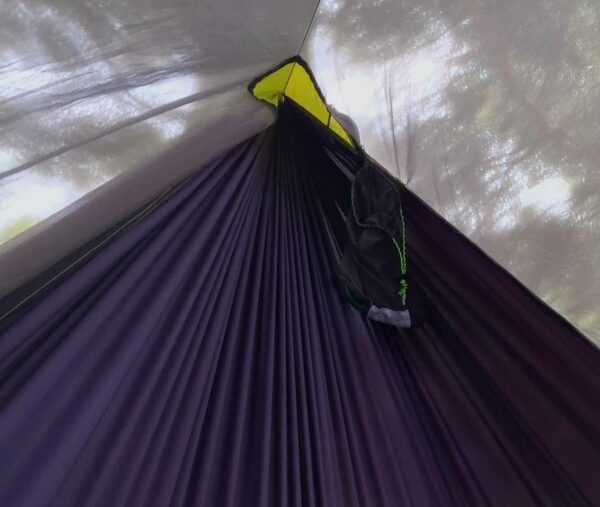 inside view of the hammock with tarp