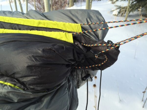 close up of hammock suspension in the winter