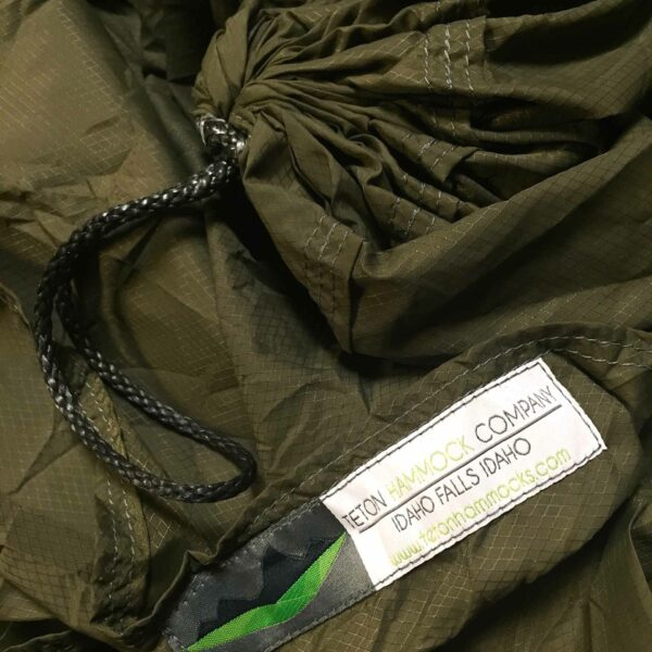 green hammock fabric with Teton hammock tag