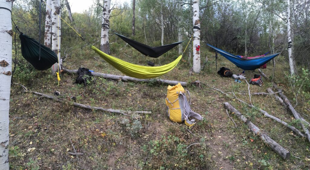 variety of custom handmade hammock camping gear set up in the forest