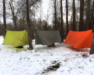 summit 4 season Hammock tarp. Yellow gray and red hammock camping gear