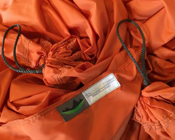 orange hammock fabric with Teton hammock tag