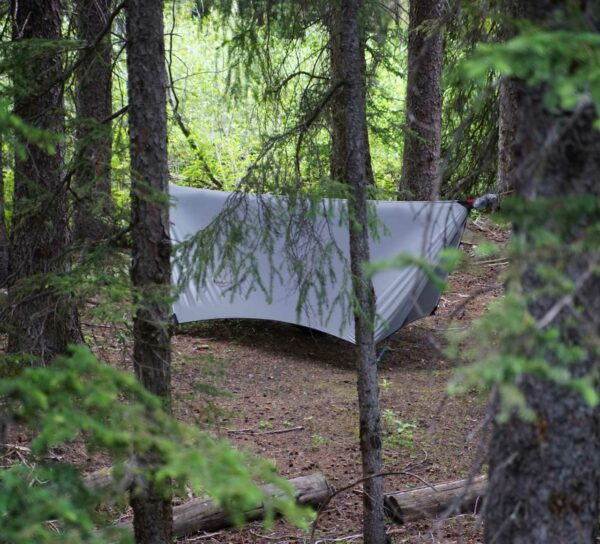 3 season grey hammock tarp setup in the forest