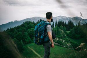 man hiking - double hammocks